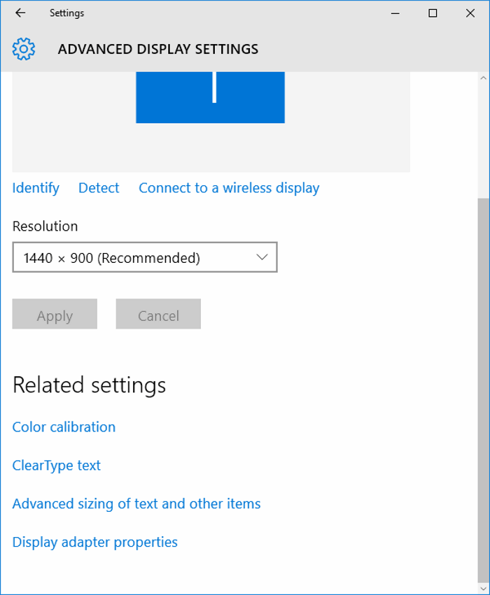 resolution options