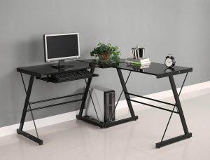 Walker Edison AZ51B29 Soreno 3-Piece Tri Monitor Corner Desk